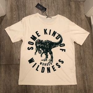 Zara off-white green rhinestone dinosaur T-shirt